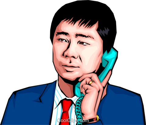 Japanese man with telephone Royalty Free Vector Clip Art illustration peop0139
