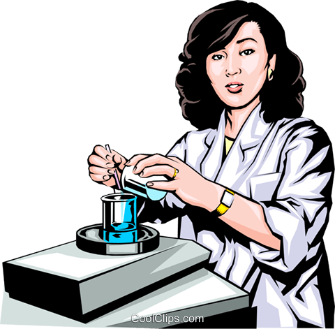 Woman scientist with beakers Royalty Free Vector Clip Art illustration peop0143