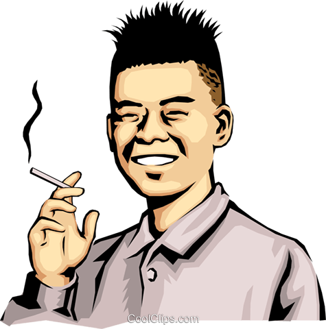 Japanese man with cigarette Royalty Free Vector Clip Art illustration peop0144