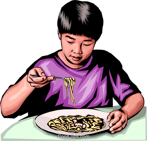 Japanese boy with noodles Royalty Free Vector Clip Art illustration peop0145