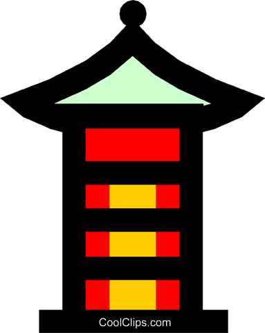 Japanese Pagoda Royalty Free Vector Clip Art illustration arch0171