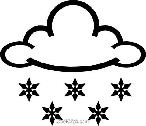 Snowflakes & clouds Royalty Free Vector Clip Art illustration natu0187
