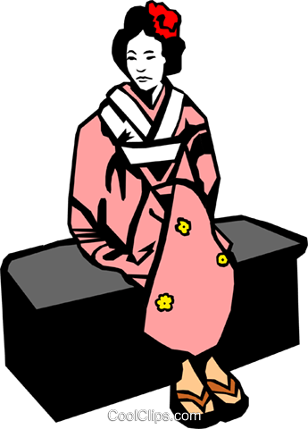 Japanese woman Royalty Free Vector Clip Art illustration peop0150