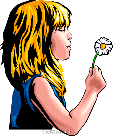 Little girl with dandelion Royalty Free Vector Clip Art illustration peop0156