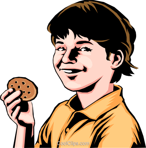 Child with a cookie Royalty Free Vector Clip Art illustration peop0157