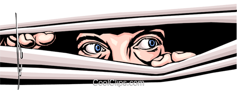 Eyes peeking through blinds Royalty Free Vector Clip Art illustration peop0162