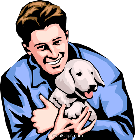 Man with dog Royalty Free Vector Clip Art illustration peop0163