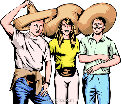 Three friends with Mexican hats Royalty Free Vector Clip Art illustration peop0165
