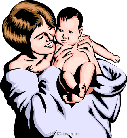 Mother with baby Royalty Free Vector Clip Art illustration peop0169