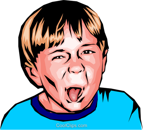 Little boy sticking out his tongue Royalty Free Vector Clip Art illustration peop0177