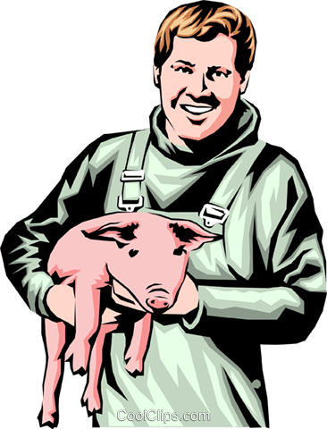 Farmer with pig Royalty Free Vector Clip Art illustration peop0182