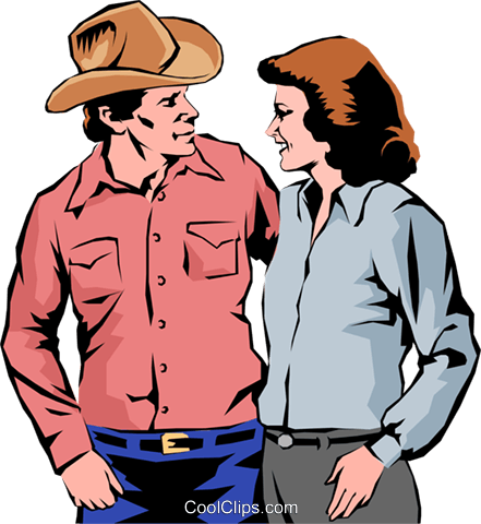 Western man & woman Royalty Free Vector Clip Art illustration peop0188
