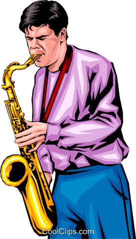 Man with a saxophone Royalty Free Vector Clip Art illustration peop0191