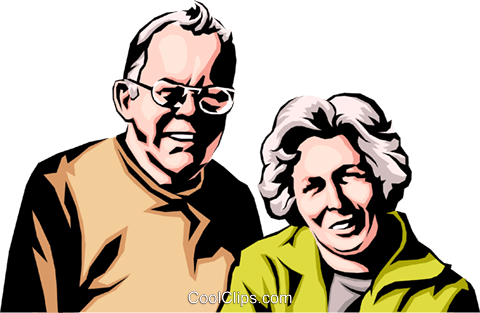 Older couple Royalty Free Vector Clip Art illustration peop0192