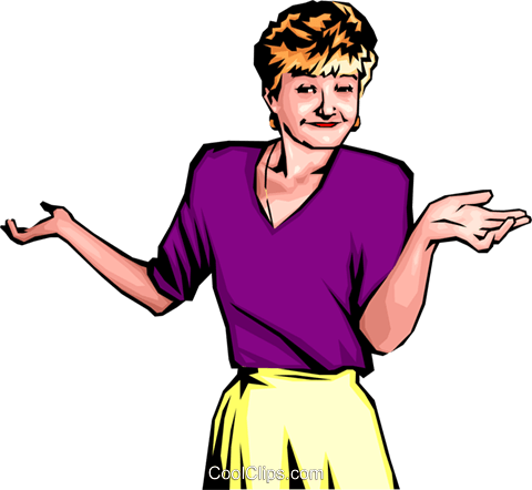 Woman with expressive hands Royalty Free Vector Clip Art illustration peop0196