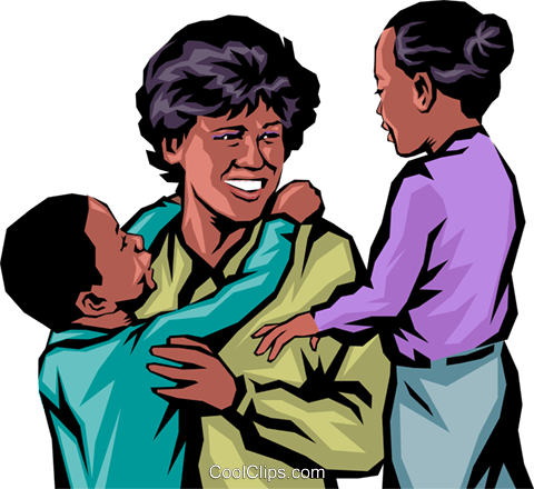 Afro-American families Royalty Free Vector Clip Art illustration peop0205