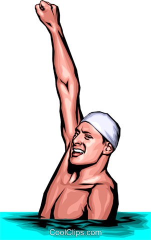 Swimmer winning the race Royalty Free Vector Clip Art illustration peop0208