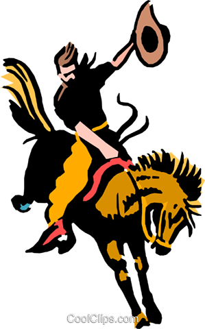 Cowboy riding a wild horse Royalty Free Vector Clip Art illustration peop0220