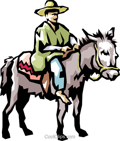 Coffee picker on a jackass Royalty Free Vector Clip Art illustration peop1138