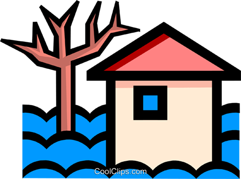 House flooded Royalty Free Vector Clip Art illustration arch0198