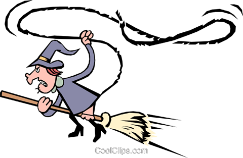 Witch on a broomstick Royalty Free Vector Clip Art illustration even0444