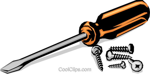 Screwdriver with screws Royalty Free Vector Clip Art illustration indu0405