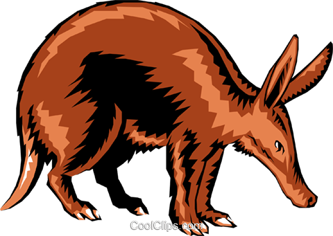 Aardvark Royalty Free Vector Clip Art illustration anim0126
