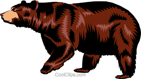 Brown bear Royalty Free Vector Clip Art illustration anim0189