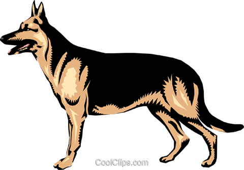 German shepherd Royalty Free Vector Clip Art illustration anim0211