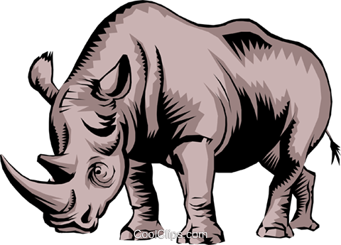 Rhinoceros Royalty Free Vector Clip Art illustration anim0248