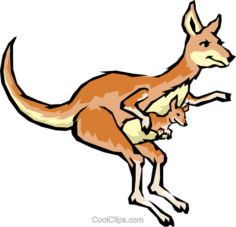 Cartoon kangaroos Royalty Free Vector Clip Art illustration anim0475