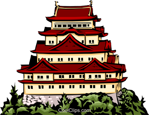 Japanese temple Royalty Free Vector Clip Art illustration arch0200