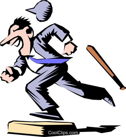 Cartoon baseball runner Royalty Free Vector Clip Art illustration cart0277