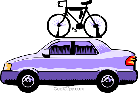 Car with bicycle roof rack Royalty Free Vector Clip Art illustration cart0284