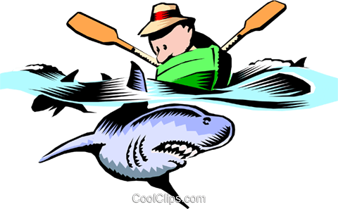 In shark infested waters Royalty Free Vector Clip Art illustration cart0289