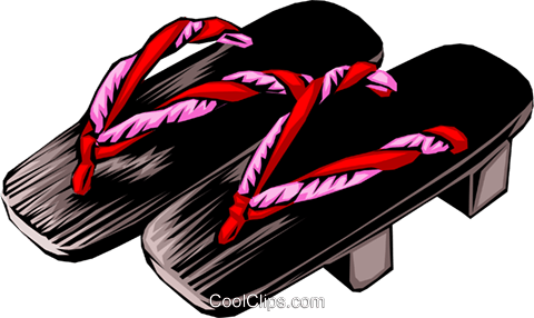 Japanese sandals Royalty Free Vector Clip Art illustration hous0383