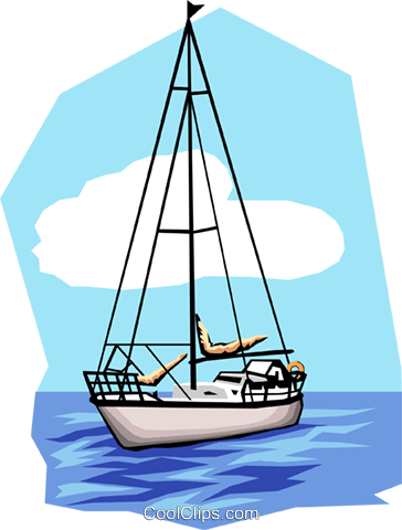 Sailboat on the water Royalty Free Vector Clip Art illustration tran0077