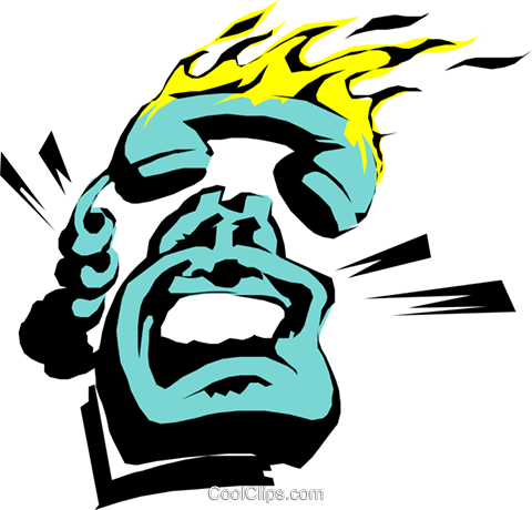 Cartoon phone on fire Royalty Free Vector Clip Art illustration busi0306