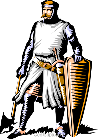 Knight ready for battle Royalty Free Vector Clip Art illustration cart0338