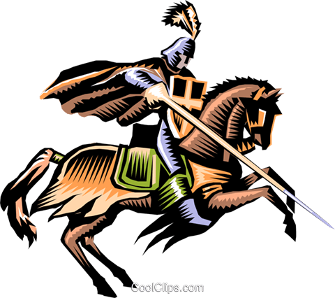 Knight on horseback Royalty Free Vector Clip Art illustration cart0340