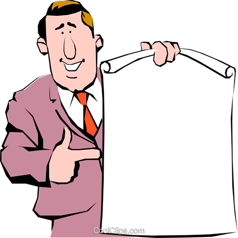 Cartoon man with announcement Royalty Free Vector Clip Art illustration cart0342