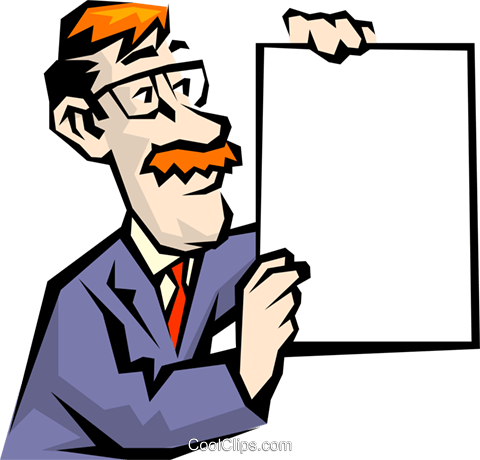 Cartoon man with announcement Royalty Free Vector Clip Art illustration cart0343