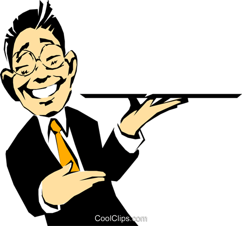 Cartoon waiter with tray Royalty Free Vector Clip Art illustration cart0344