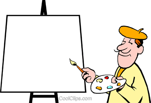 Cartoon artist with palette Royalty Free Vector Clip Art illustration cart0346