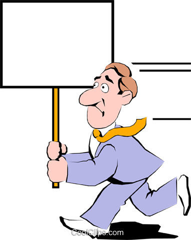 Cartoon man with placard Royalty Free Vector Clip Art illustration cart0347