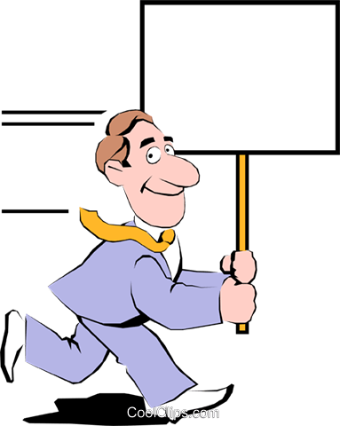 Cartoon man with placard Royalty Free Vector Clip Art illustration cart0350