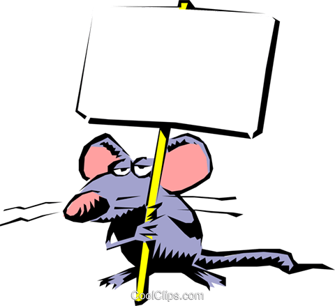 Cartoon mouse with placard Royalty Free Vector Clip Art illustration cart0351