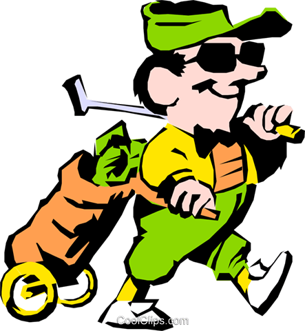 Cartoon golfer Royalty Free Vector Clip Art illustration cart0421