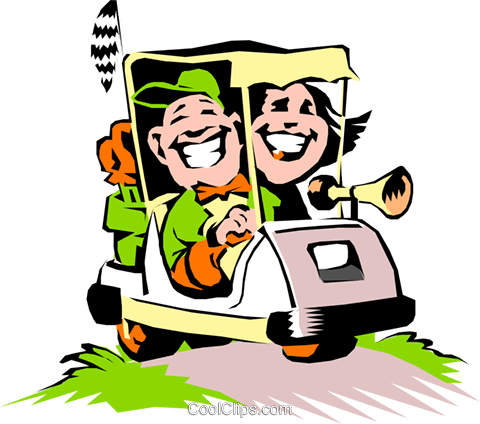Cartoon golf cart Royalty Free Vector Clip Art illustration cart0422