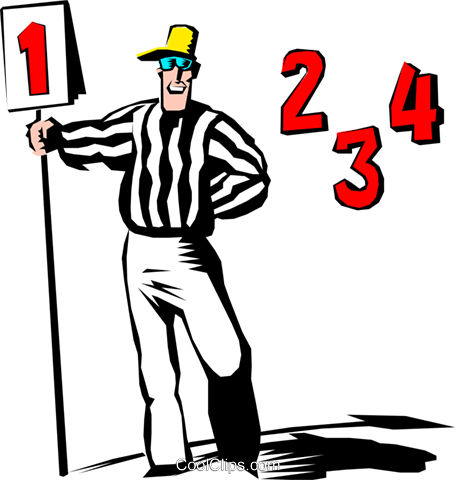 Cartoon football referee Royalty Free Vector Clip Art illustration cart0438